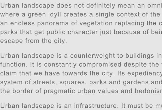 Urban Landscape Manifesto